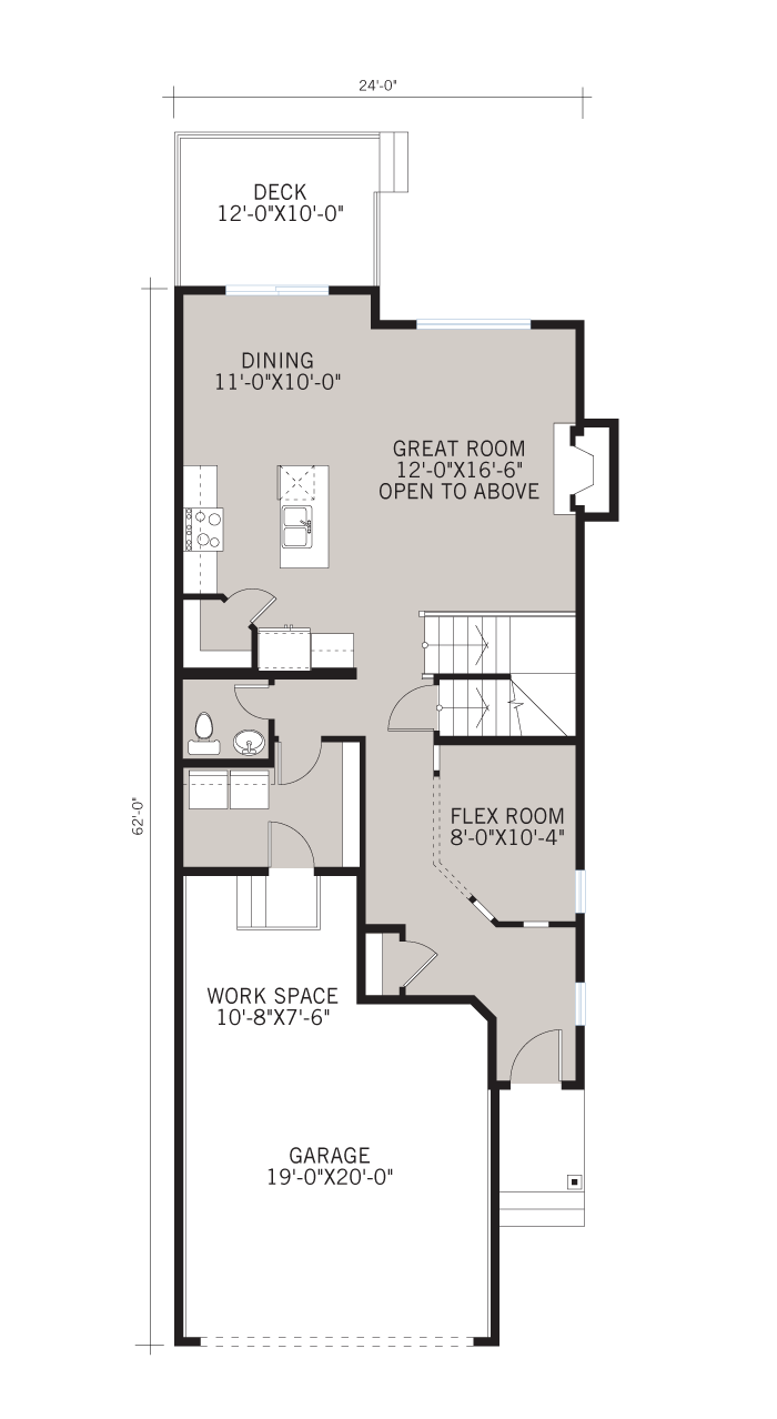 Base floorplan of BARRET-SP2016 - Shingle S1 - 2,096 sqft, 3 Bedroom, 2.5 Bathroom - Cardel Homes Calgary