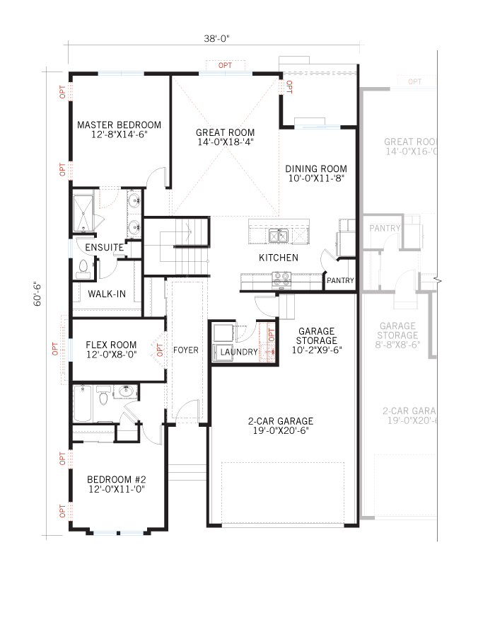 Base floorplan of Ponderosa - Elevation A - 1,618 sqft, 2 Bedroom, 2 Bathroom - Cardel Homes Denver