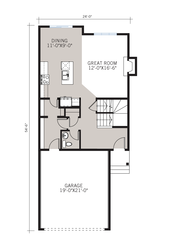 Base floorplan of Sandhurst 2 - Modern Prairie F1 - 1,839 sqft, 3 Bedroom, 2.5 Bathroom - Cardel Homes Calgary