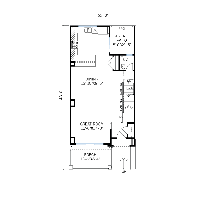 Base floorplan of Turin Elevation D - Turin Elevation E - 1,688 sqft, 2 Bedroom, 2.5 Bathroom - Cardel Homes Denver