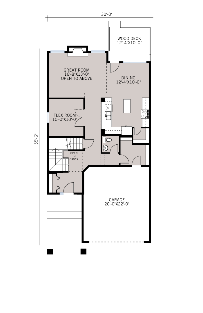 Base floorplan of Larch - Shingle S1 - 2,350 sqft, 3 - 4 Bedroom, 2.5 Bathroom - Cardel Homes Calgary