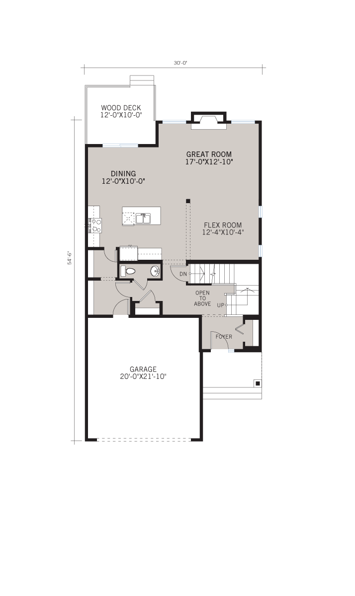 Base floorplan of Preston - Shingle S1 - 2,422 sqft, 4 Bedroom, 2.5 Bathroom - Cardel Homes Calgary