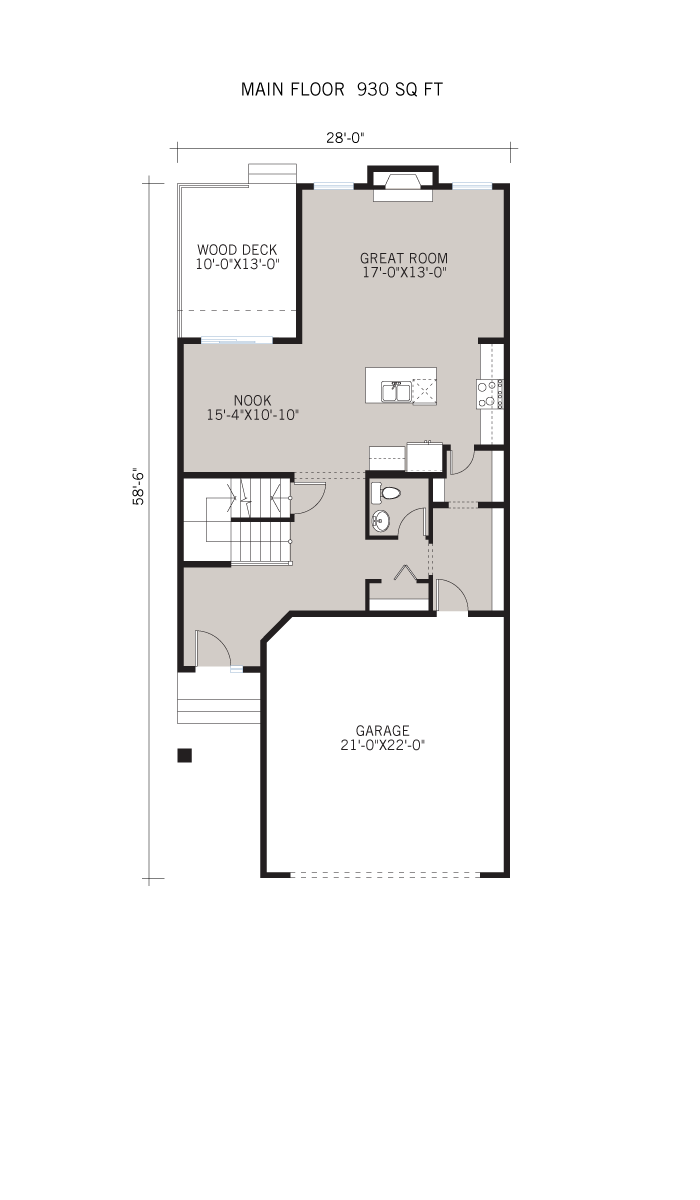Base floorplan of Meyer - Shingle S1 - 2,312 sqft, 3 Bedroom, 2.5 Bathroom - Cardel Homes Calgary