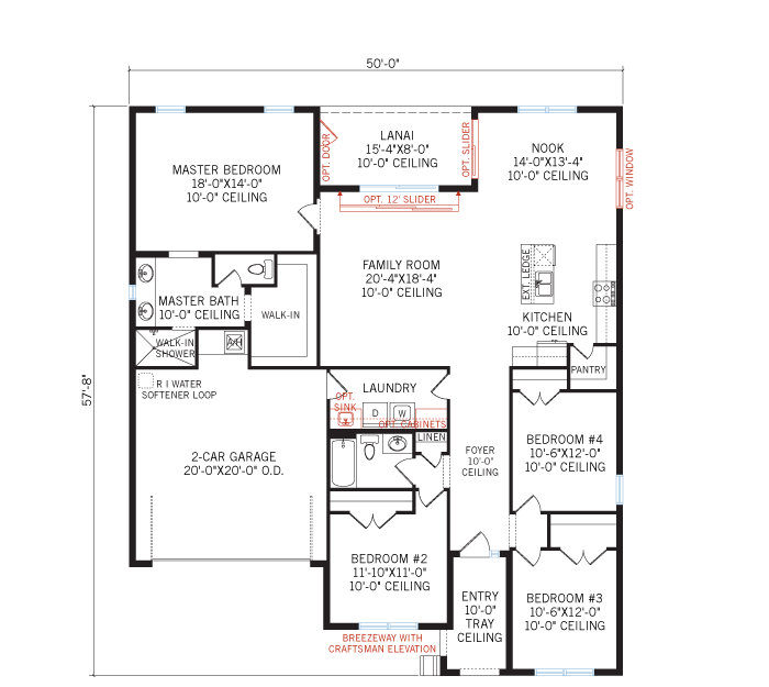 Base floorplan of Independence - Mediterranean - 2,000 sqft, 4 Bedroom, 2 Bathroom - Cardel Homes Tampa