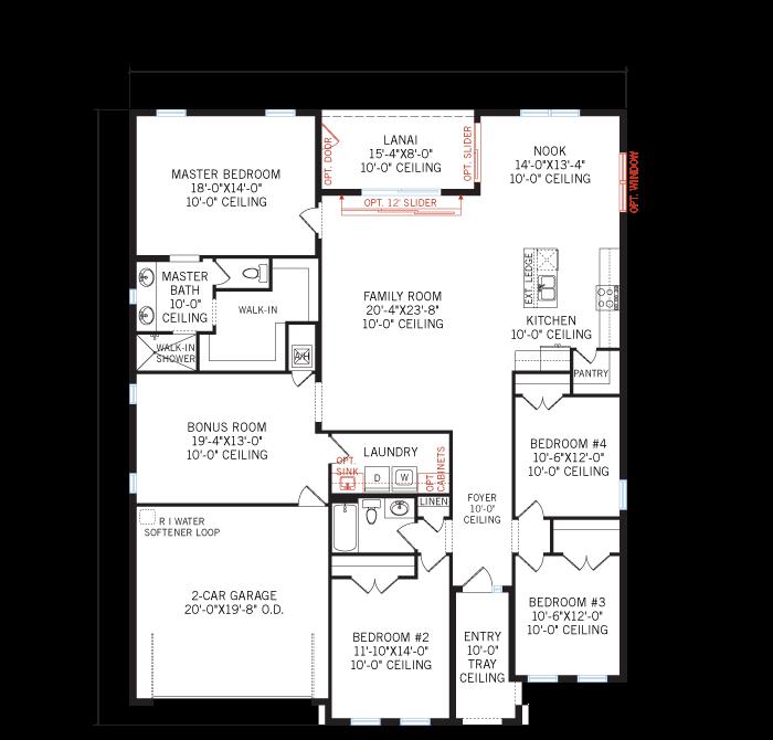 Base floorplan of Valiant - Mediterranean - 2,414 sqft, 4 Bedroom, 2 Bathroom - Cardel Homes Tampa