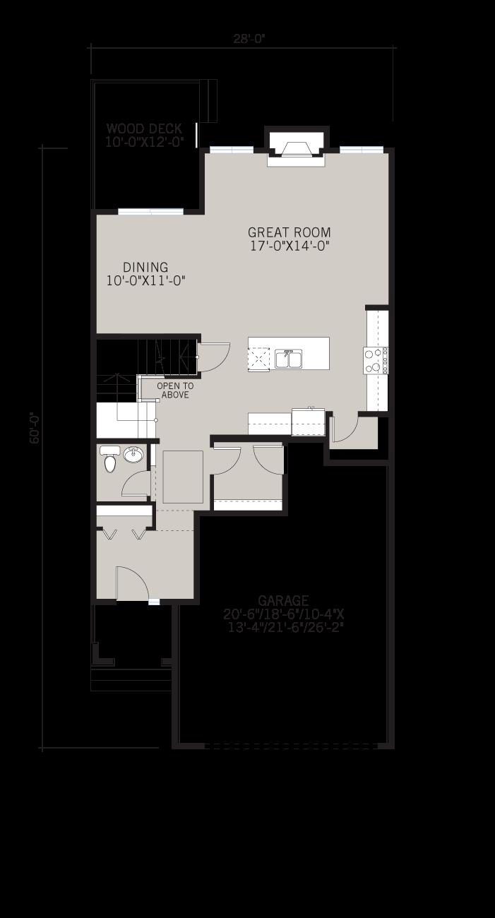 Base floorplan of Sitka - Shingle S1 - 2,234 sqft, 3 Bedroom, 2.5 Bathroom - Cardel Homes Calgary