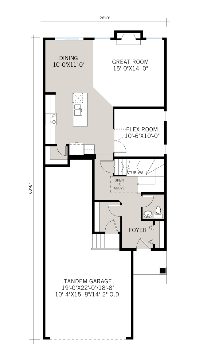 Base floorplan of Tandem Bay - Fusion Modern F4 - 2,143 sqft, 3 Bedroom, 2.5 Bathroom - Cardel Homes Calgary