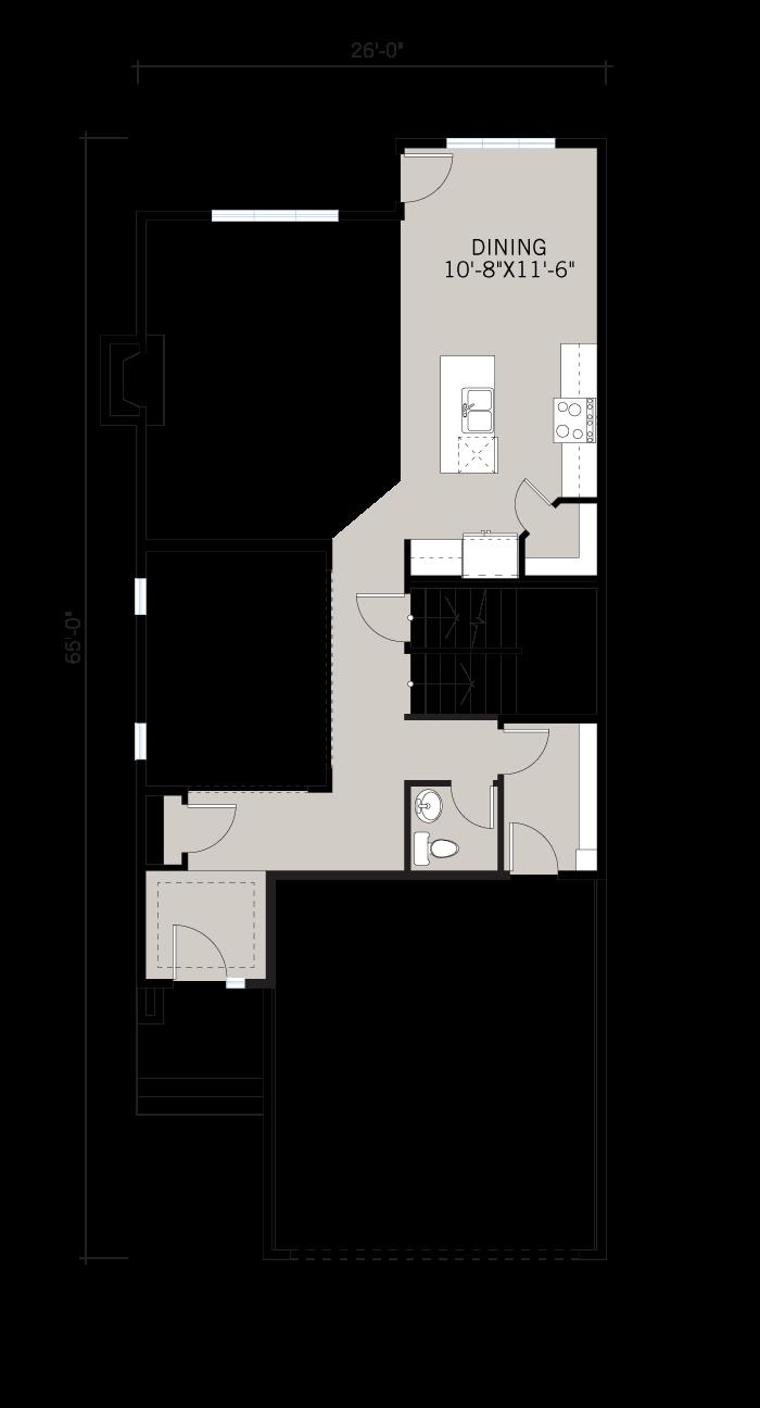 Base floorplan of Senna - Urban Farmhouse A2 - 2,315 sqft, 3 Bedroom, 2.5 Bathroom - Cardel Homes Calgary