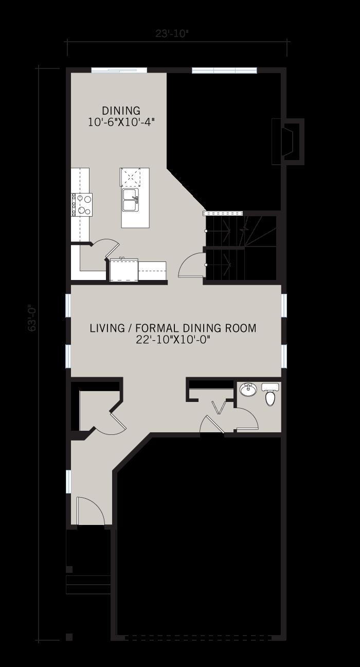 Base floorplan of Sabal 3 - CB-Prairie C2 - 2,313 sqft, 4 Bedroom, 2.5 Bathroom - Cardel Homes Calgary