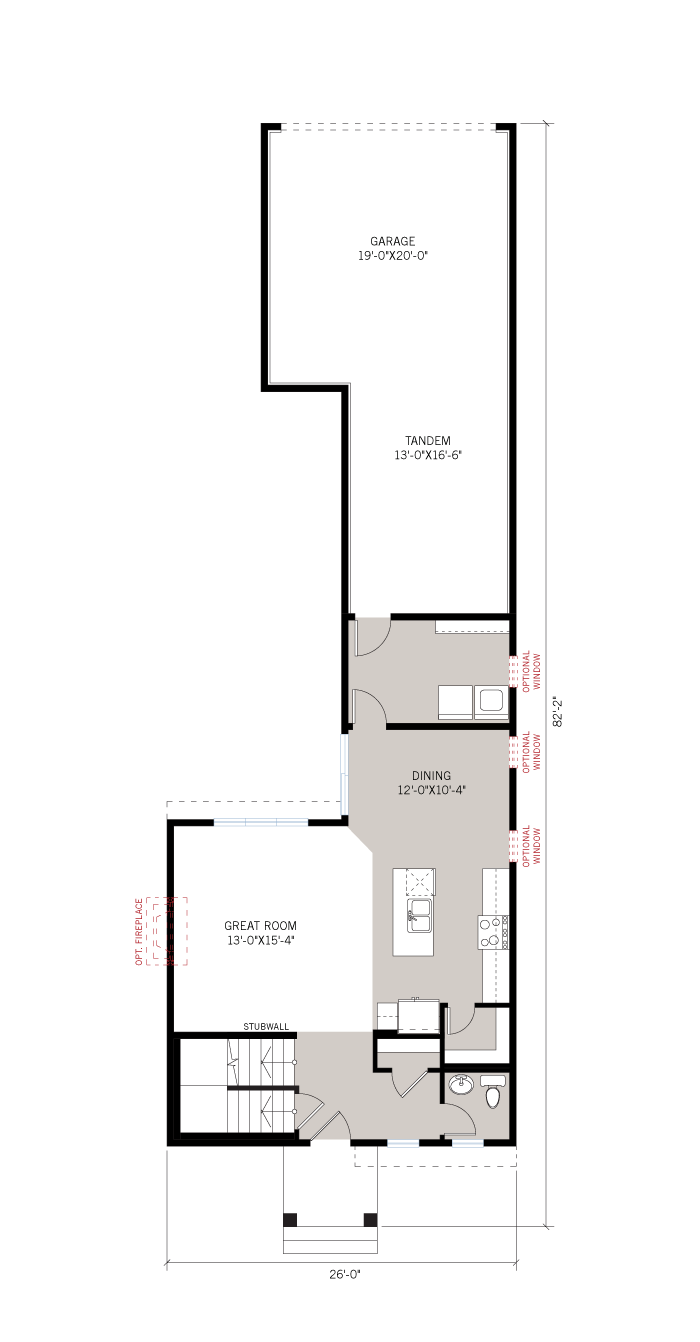 Base floorplan of Stockton Court - A3 Urban - 1,816 sqft, 3 Bedroom, 2.5 Bathroom - Cardel Homes Ottawa