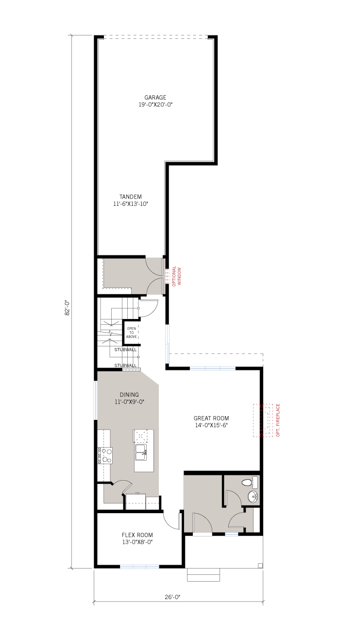 Base floorplan of Kingston Court - A3 Urban - 1,907 sqft, 3 Bedroom, 2.5 Bathroom - Cardel Homes Ottawa