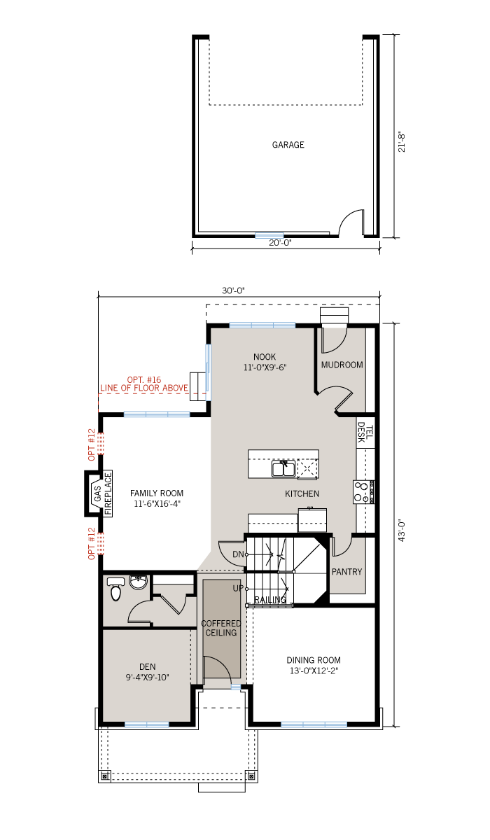 Base floorplan of Huxley - Huxley A3 - 2,387 sqft, 3 Bedroom, 2.5 Bathroom - Cardel Homes Ottawa
