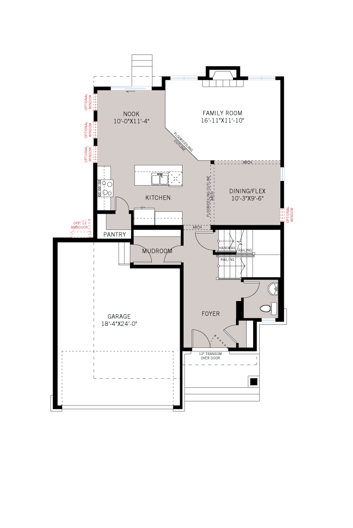 Base floorplan of Briscoe - A2 Traditional - 2,134 sqft, 3 Bedroom, 2.5 Bathroom - Cardel Homes Ottawa