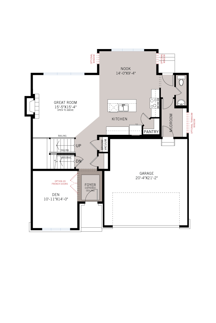 Base floorplan of Lockhart - A3 Modern Urban - 2,278 sqft, 4 Bedroom, 2.5 Bathroom - Cardel Homes Ottawa