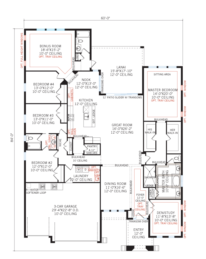 Base floorplan of St. Lucia BEXLEY - Tuscan Cottage - 3,336 sqft, 4 Bedroom, 3 Bathroom - Cardel Homes Tampa