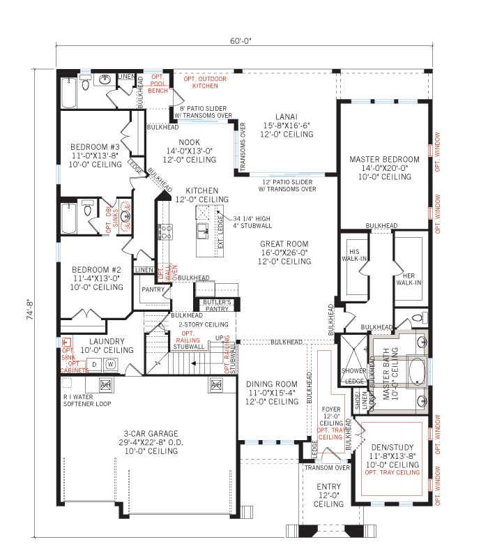Base floorplan of St. Lucia 2 - Tuscan Cottage - 3,952 sqft, 5 Bedroom, 4 Bathroom - Cardel Homes Tampa