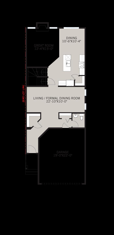 Base floorplan of Sabal 2 - Urban Prairie A2 - 2,313 sqft, 4 Bedroom, 2.5 Bathroom - Cardel Homes Calgary