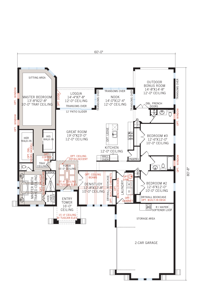 Base floorplan of Toriana - Tuscan - 2,514 - 2,874 sqft, 3 - 4  Bedroom, 2.5 - 3 Bathroom - Cardel Homes Tampa