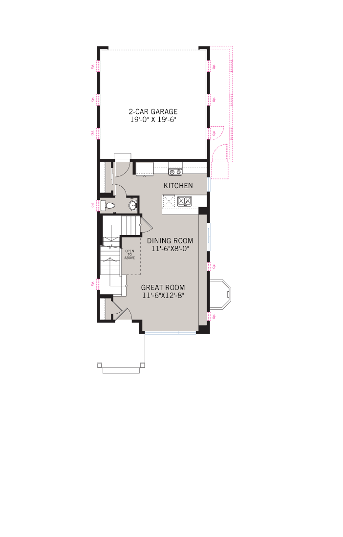 Base floorplan of colette-a - 1,345 sqft, 2 Bedroom, 2.5 Bathroom - Cardel Homes Denver