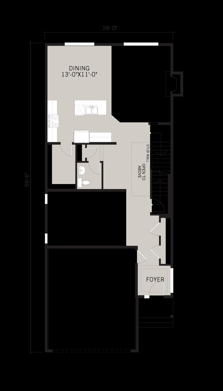 Base floorplan of Aster - Urban Farmhouse F1 - 2,600 sqft, 4 Bedroom, 2.5 Bathroom - Cardel Homes Calgary