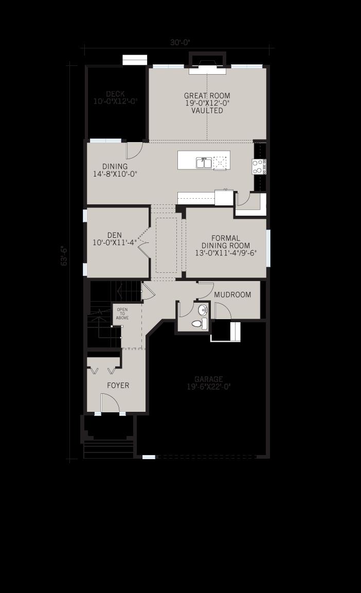 Base floorplan of Selkirk 2 - Shingle S1 - 2,788 sqft, 4 Bedroom, 2.5 Bathroom - Cardel Homes Calgary
