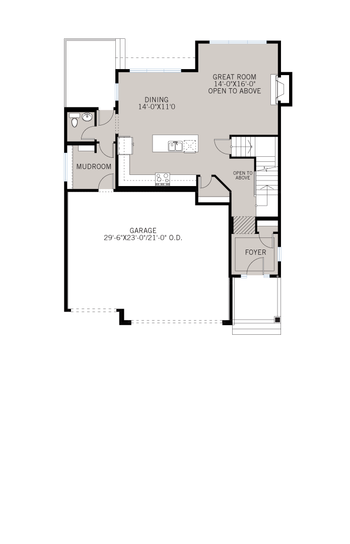 Base floorplan of Patagon - Shingle S1 - 2,351 sqft, 3 Bedroom, 2.5 Bathroom - Cardel Homes Calgary
