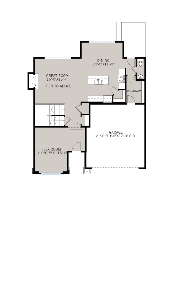 Base floorplan of Tamarack - Shingle S1 - 2,296 sqft, 3 Bedroom, 2.5 Bathroom - Cardel Homes Calgary