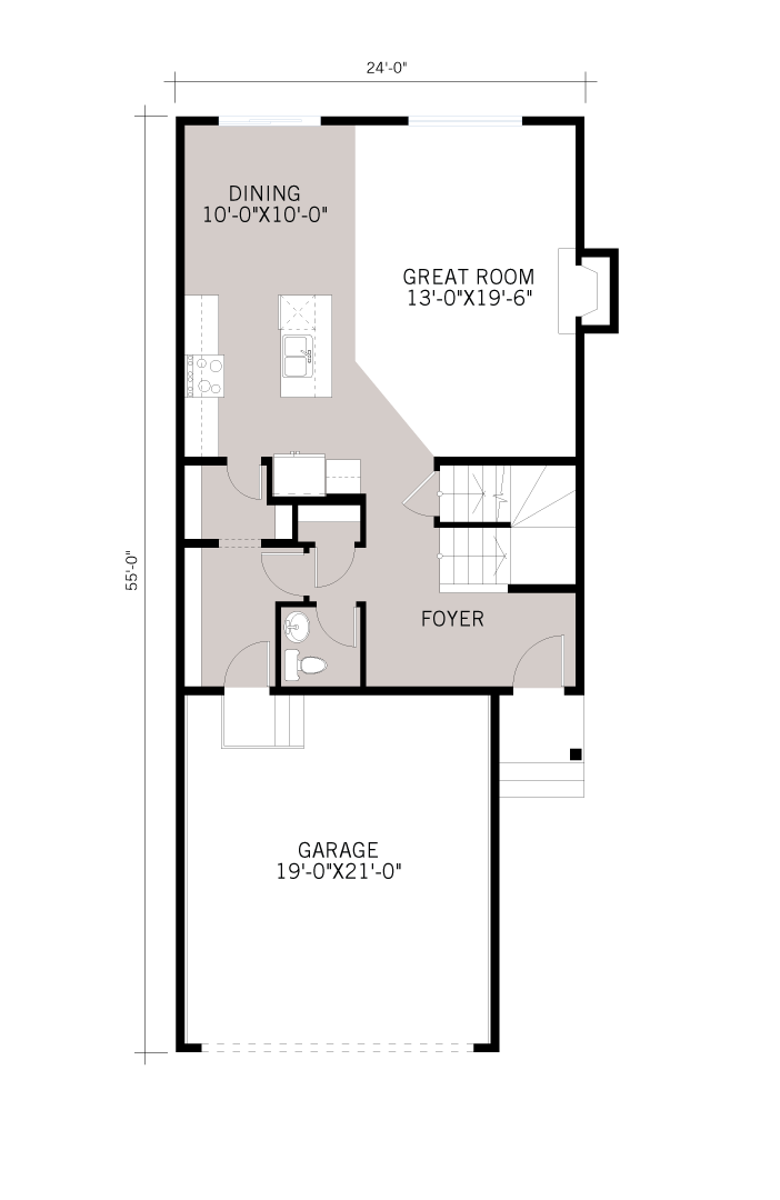 Base floorplan of Sandhurst - Modern Prairie F1 - 1,929 sqft, 3 Bedroom, 2.5 Bathroom - Cardel Homes Calgary
