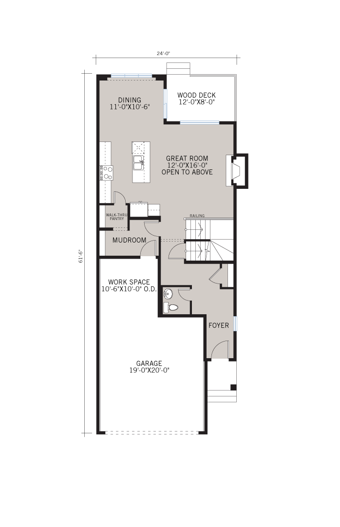 Base floorplan of Barrett 2 SP - Barrett 2 - 2,000 sqft, 3 Bedroom, 2.5 Bathroom - Cardel Homes Calgary