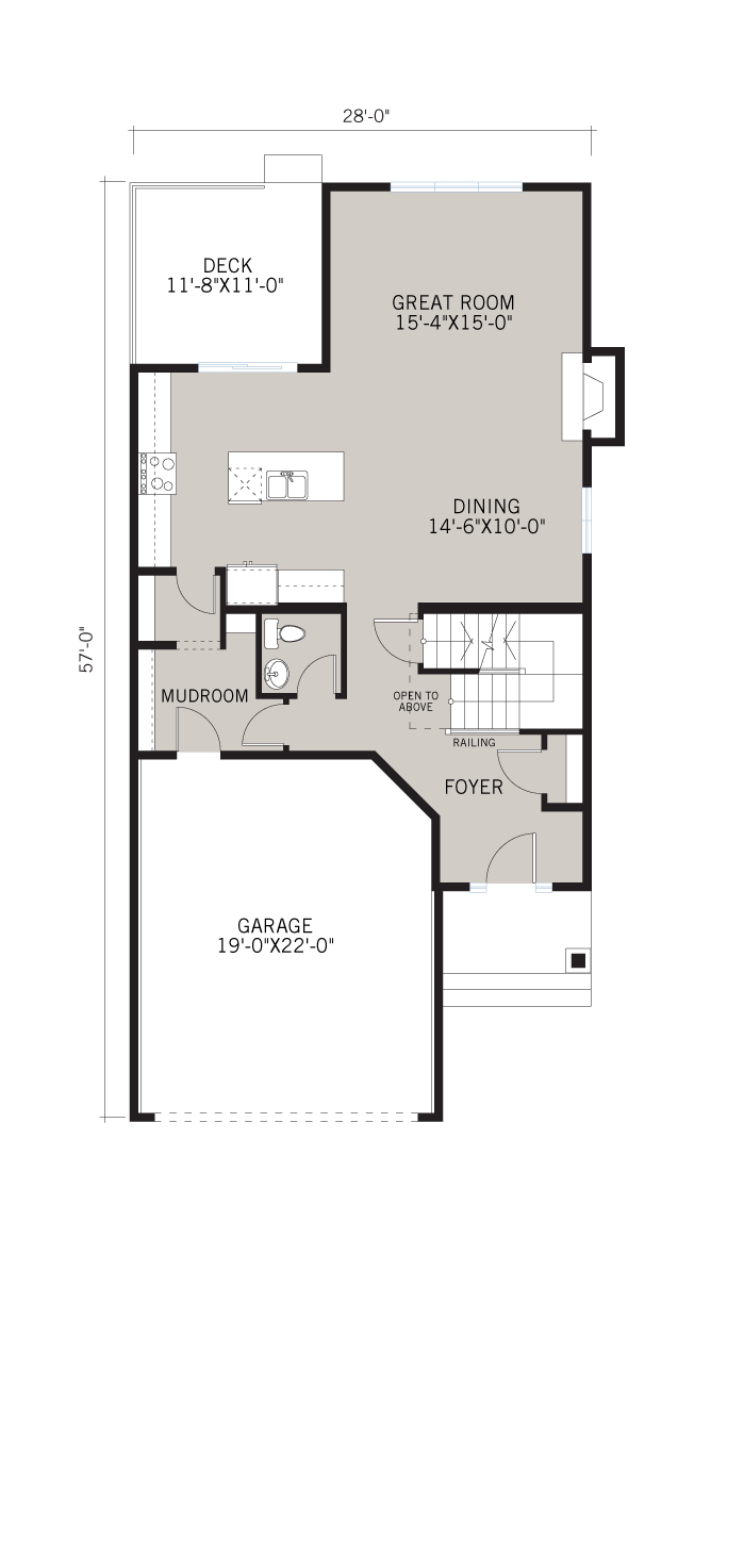 Base floorplan of MIRO 2 - Shingle S1 - 2,109 sqft, 3 Bedroom, 2.5 Bathroom - Cardel Homes Calgary