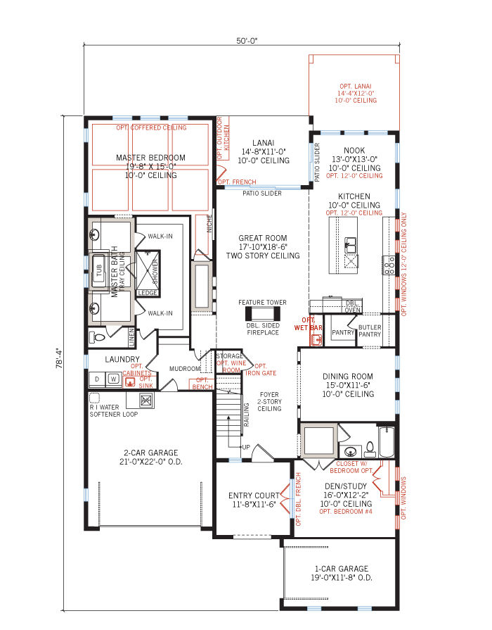 Base floorplan of Palazzo - Mizner - 3,730 - 3,788 sqft, 3 - 5 Bedroom, 3 - 4 Bathroom - Cardel Homes Tampa