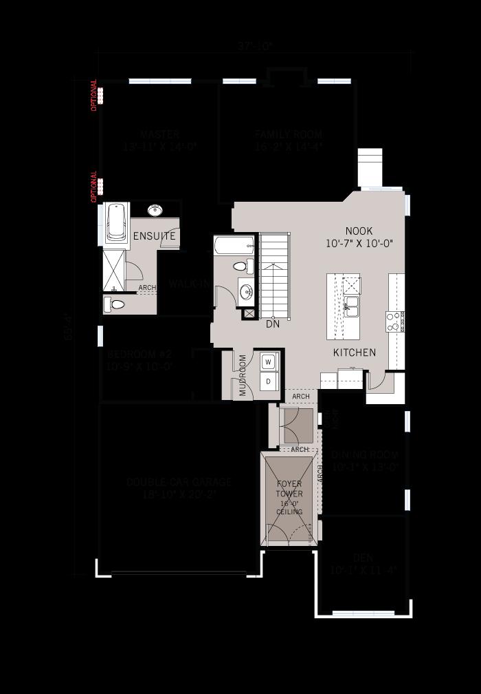 Base floorplan of Decker-A3-modern-urban-700x460 - 1,850 sqft, 2 Bedroom, 2 Bathroom - Cardel Homes Ottawa