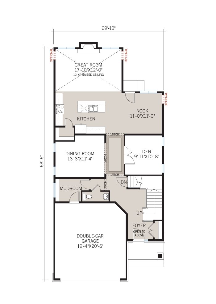 Base floorplan of Berkshire 2 - A4 Chateau - 2,549 sqft, 4 Bedroom, 2.5 Bathroom - Cardel Homes Ottawa