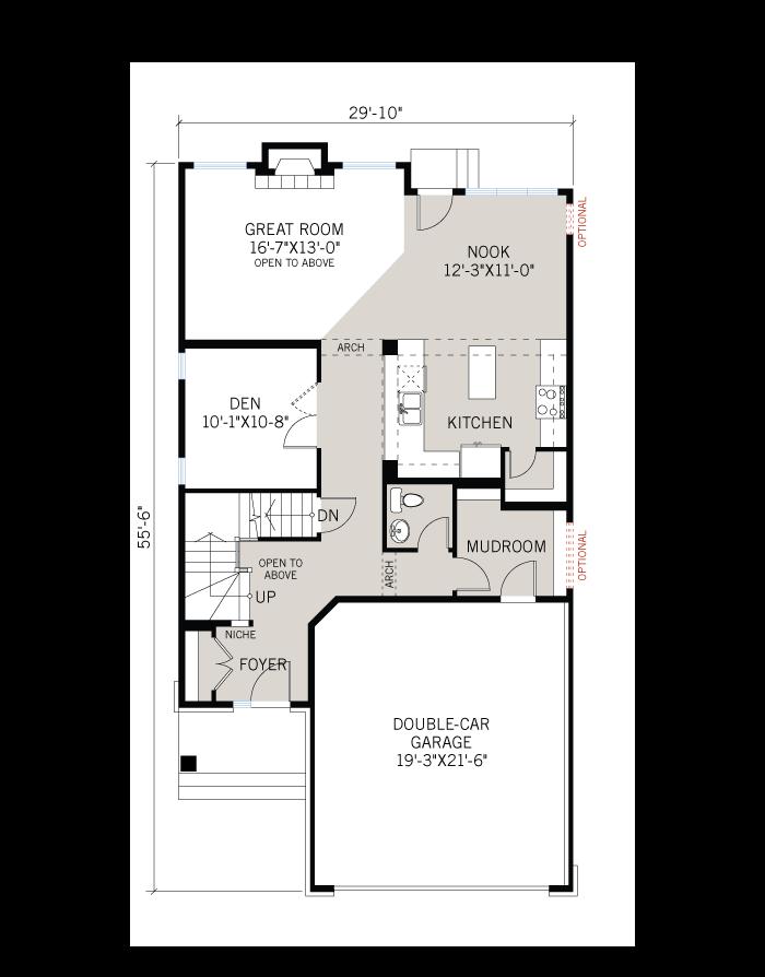 Base floorplan of North Hampton - A5 Modern Prairie - 2,413 sqft, 3 - 4 Bedroom, 2.5 Bathroom - Cardel Homes Ottawa