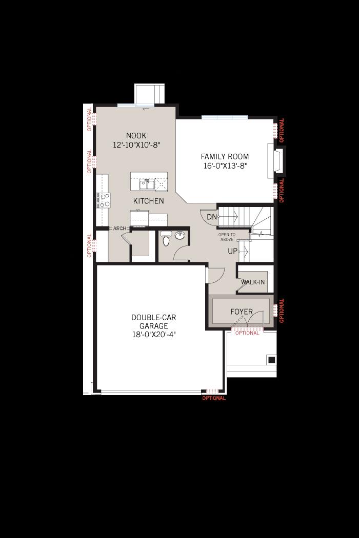Base floorplan of Montage - Chateau A3 - 2,212 sqft, 3 Bedroom, 2.5 Bathroom - Cardel Homes Ottawa