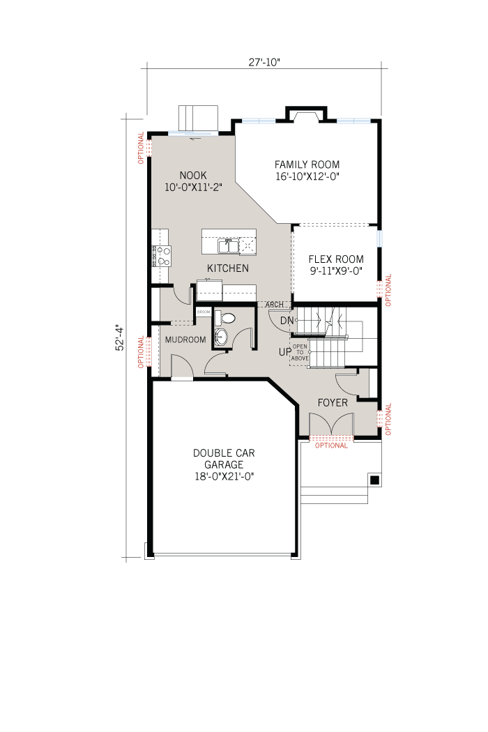 Base floorplan of Chesapeake - Chateau A3 - 2,023 sqft, 3 Bedroom, 2.5 Bathroom - Cardel Homes Ottawa