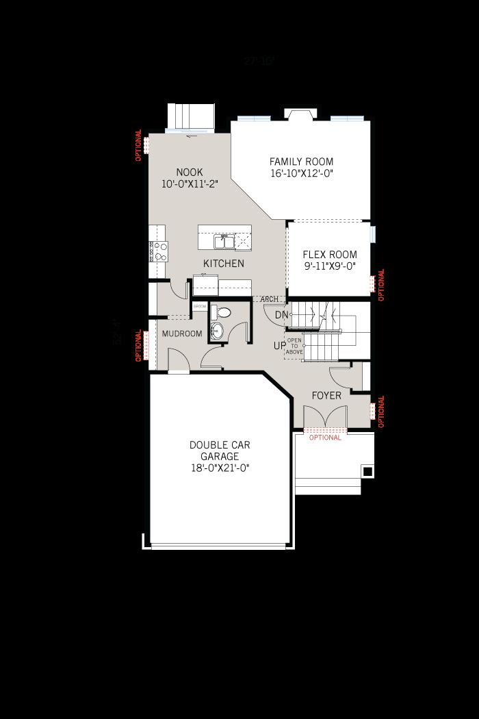 Base floorplan of Chesapeake - Chateau A3 - 2,023 sqft, 3 - 4 Bedroom, 2.5 Bathroom - Cardel Homes Ottawa