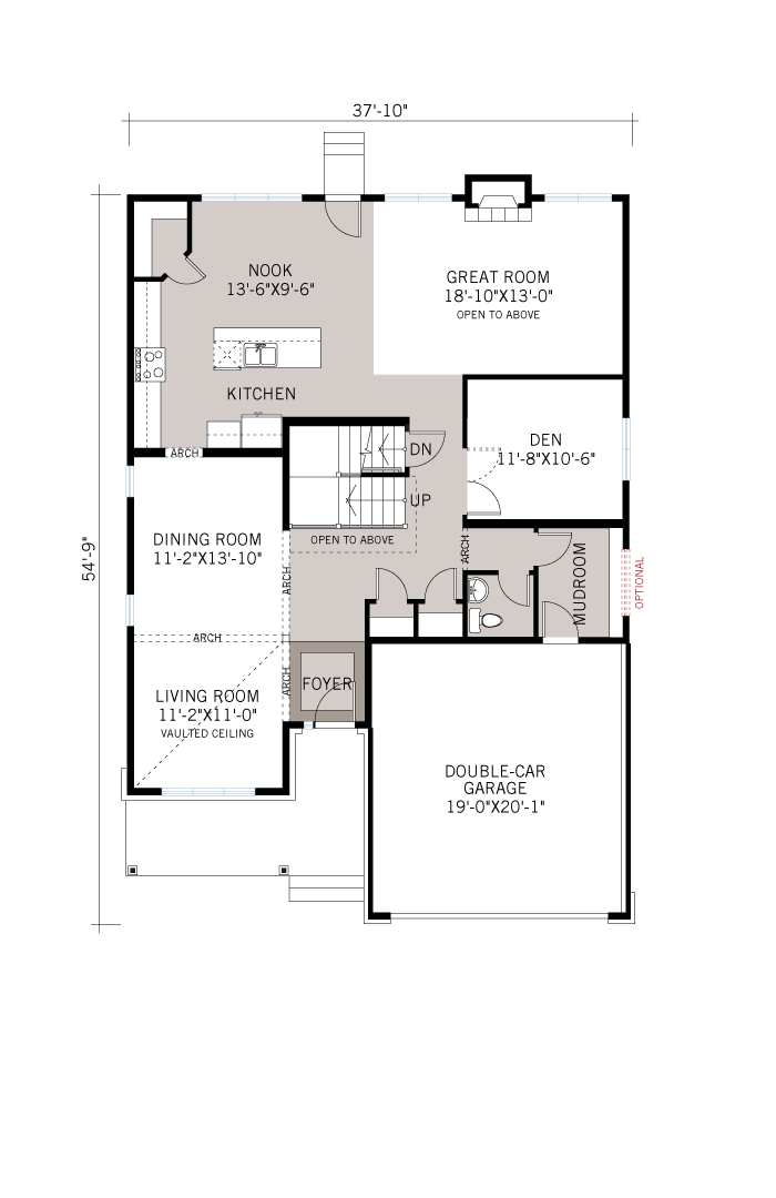 Base floorplan of Ridgecrest - Traditional A2 - 2,815 sqft, 4 Bedroom, 2.5 Bathroom - Cardel Homes Ottawa