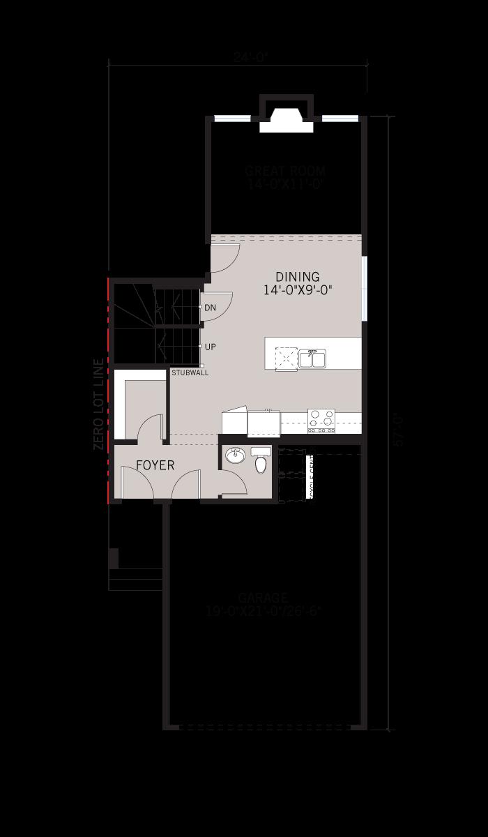 Base floorplan of Invis 1 - CB-Prairie C2 - 1,656 sqft, 3 Bedroom, 2.5 Bathroom - Cardel Homes Calgary