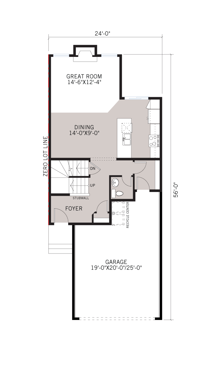 Base floorplan of Invis 2 - F2 - 1,710 sqft, 3 Bedroom, 2.5 Bathroom - Cardel Homes Calgary