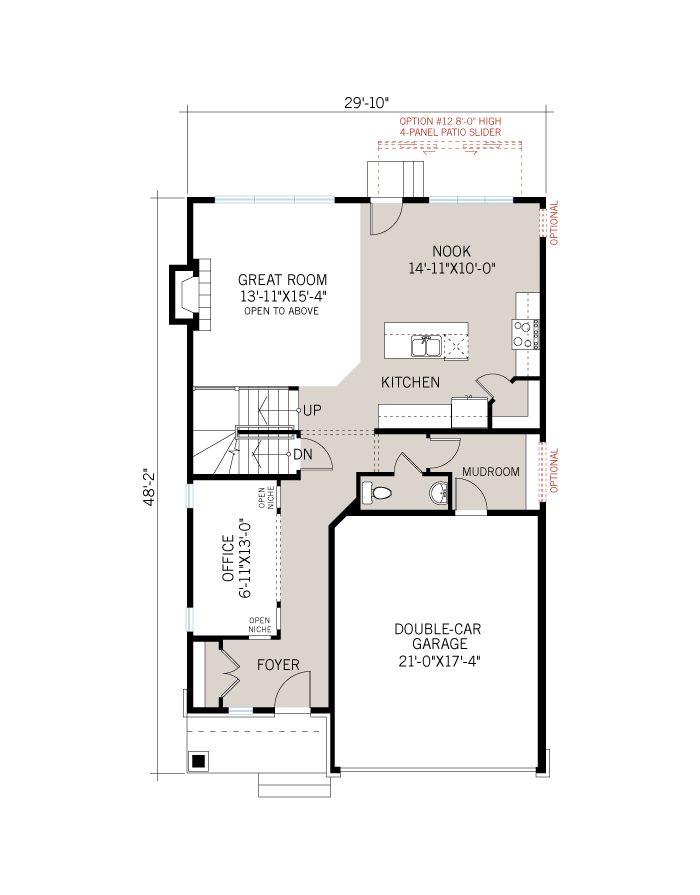 Base floorplan of Devonshire 2 - A3 Modern Prarie - 2,212 sqft, 4 Bedroom, 2.5 Bathroom - Cardel Homes Ottawa