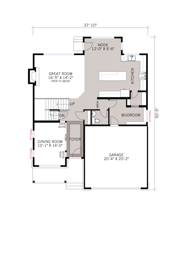 Base floorplan of Harrison - Traditional A2 - 2,470 sqft, 4 - 5 Bedroom, 2.5 Bathroom - Cardel Homes Ottawa