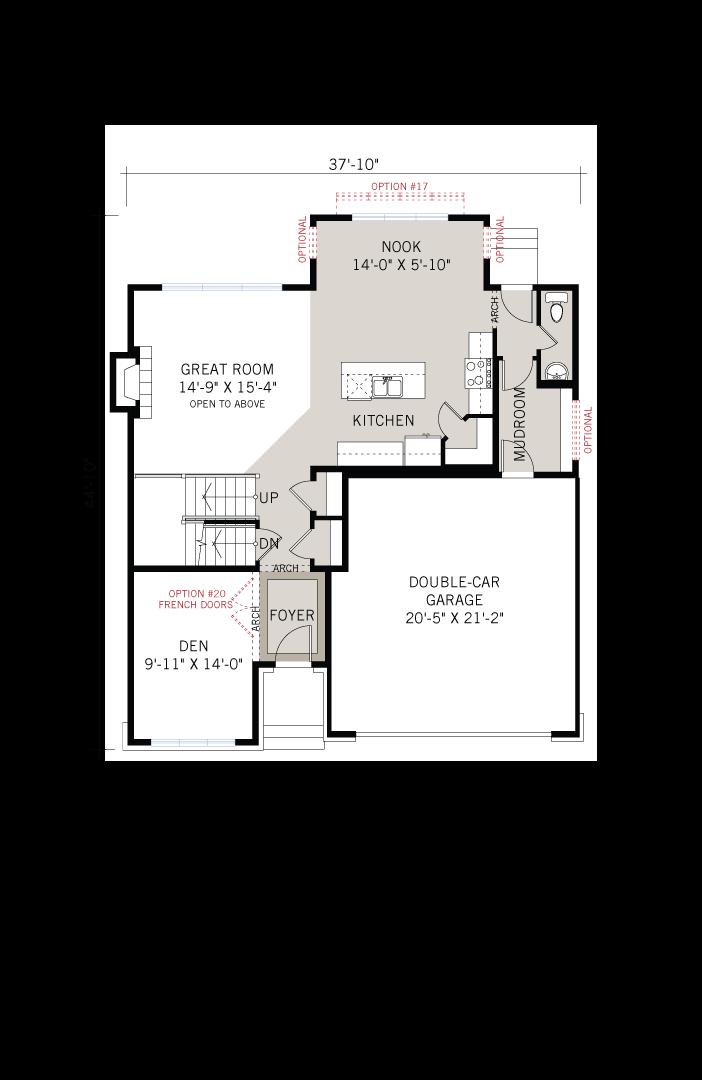 Base floorplan of Laurel - Traditional A2 - 2,202 sqft, 4 Bedroom, 2.5 Bathroom - Cardel Homes Ottawa