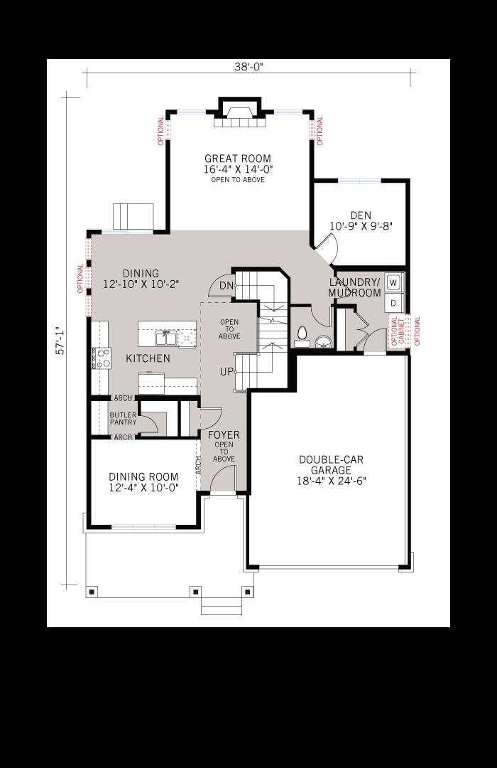Base floorplan of Oakfield - Urban Modern A3 - 2,487 sqft, 3 Bedroom, 2.5 Bathroom - Cardel Homes Ottawa