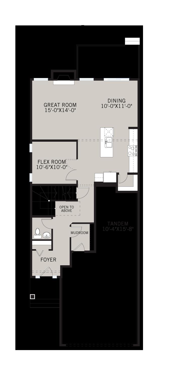 Base floorplan of MEDORA2-SP - Shingle S1 - 2,399 sqft, 4 Bedroom, 2.5 Bathroom - Cardel Homes Calgary