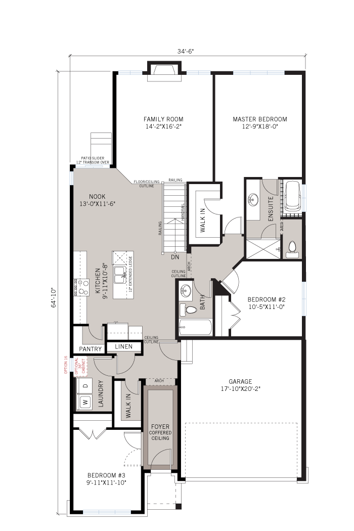 Base floorplan of Lancaster - Traditional A2 - 1,678 sqft, 3 Bedroom, 2 Bathroom - Cardel Homes Ottawa