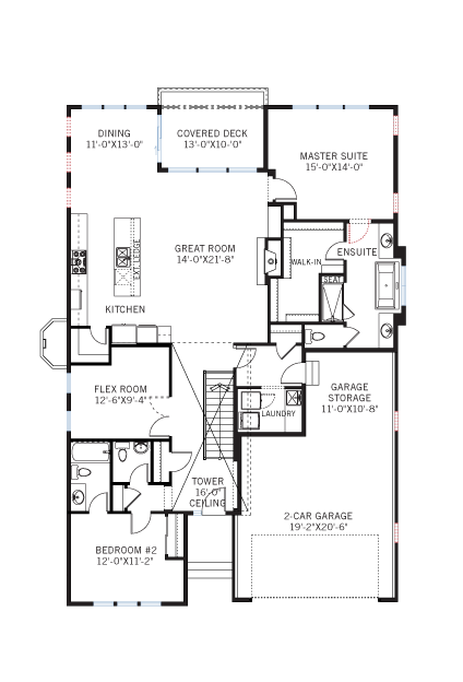 Base floorplan of Augusta_DVR_RR - Modern Prairie Rear - 1,944 sqft, 2 Bedroom, 2.5 Bathroom - Cardel Homes Denver