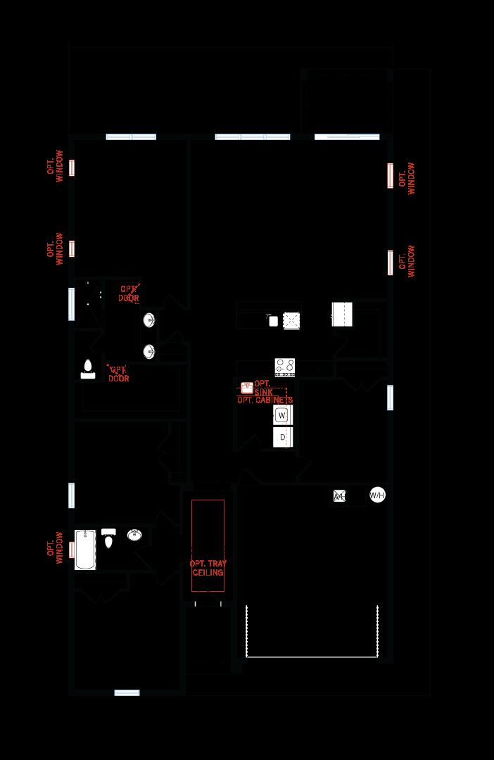 Base floorplan of Northwood - Traditional Cottage - 2,200 sqft, 3-4 Bedroom, 2-3 Bathroom - Cardel Homes Tampa