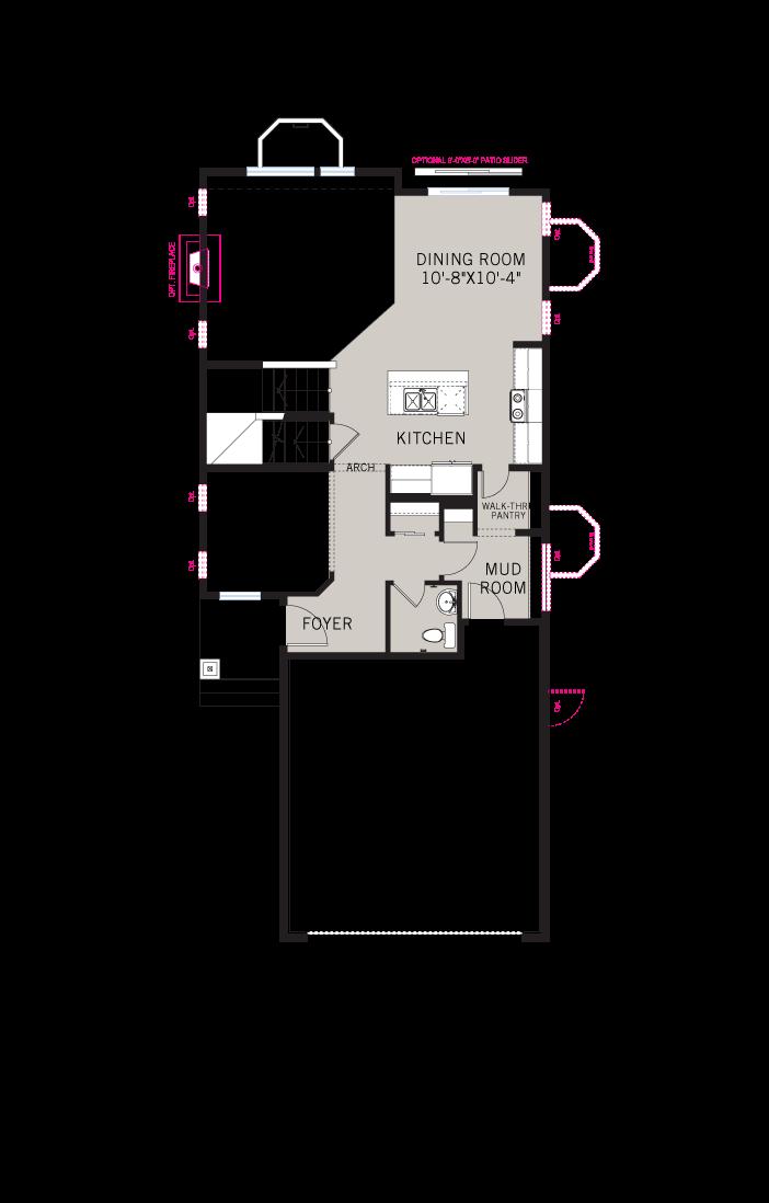 Base floorplan of AERO-elev - 1,948 sqft, 3 Bedroom, 2.5 Bathroom - Cardel Homes Denver