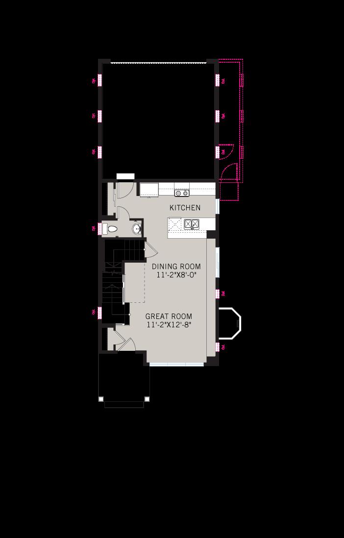 Base floorplan of Colette - Elevation C - Modern - 1,341 sqft, 2 Bedroom, 2.5 Bathroom - Cardel Homes Denver